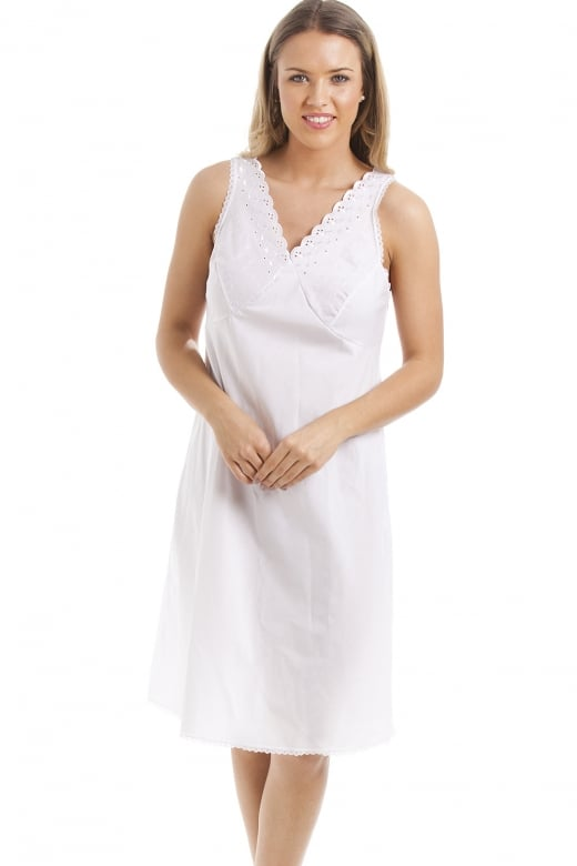 Camille Classic White Embroidered Chemise Full Slip