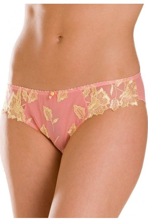 Camille Coral Pink And Yellow Lace Sheer Mesh Briefs
