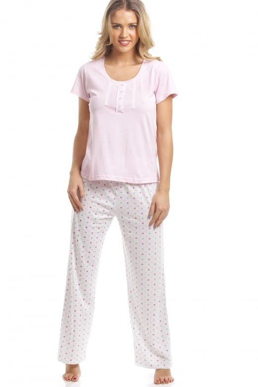 Camille Cotton Mix Pink And Multi-Coloured Polka Dot Pyjama Set