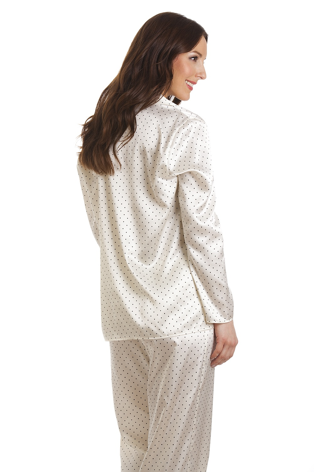 506350f6dd Camille Cream Polka Dot Full Length Satin Pyjama Set