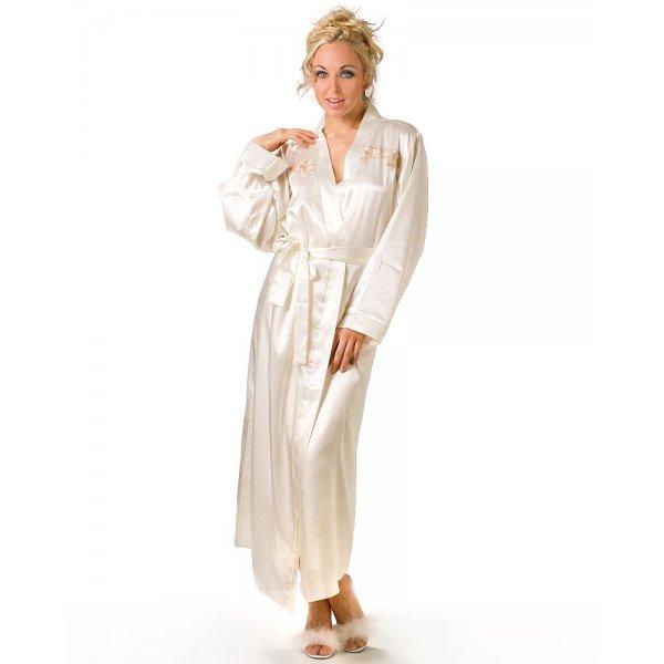 New Ladies Camille Cream Satin Kimono Womens Tie Belt Dressing Gown ...