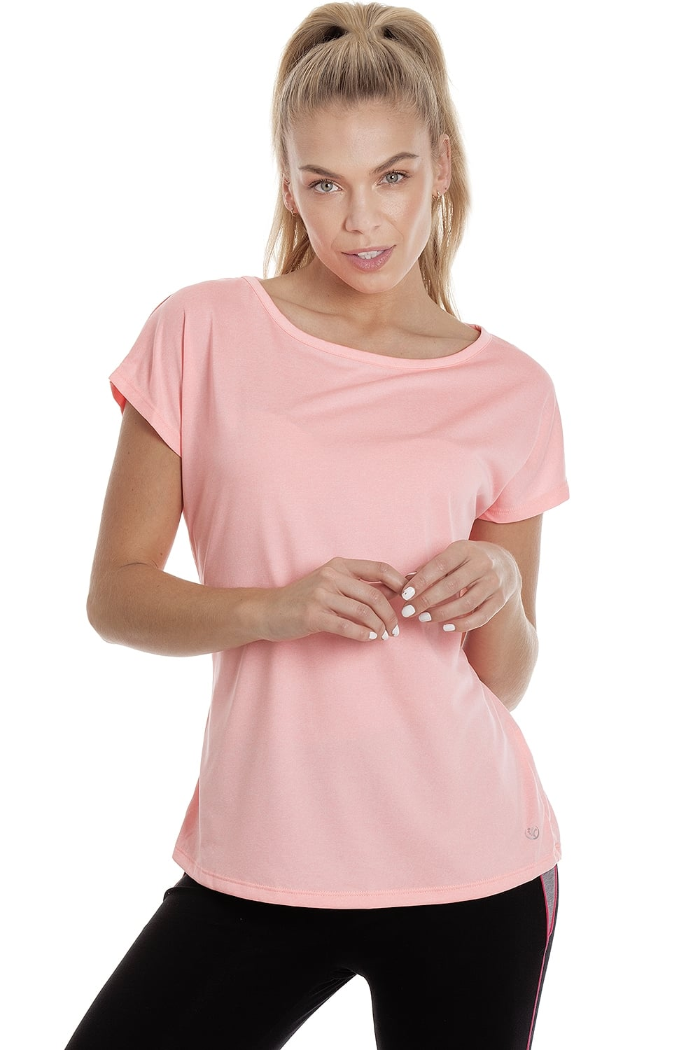 Ex dunnes womens coral pink short sleeve sports t shirt for Coral t shirt womens