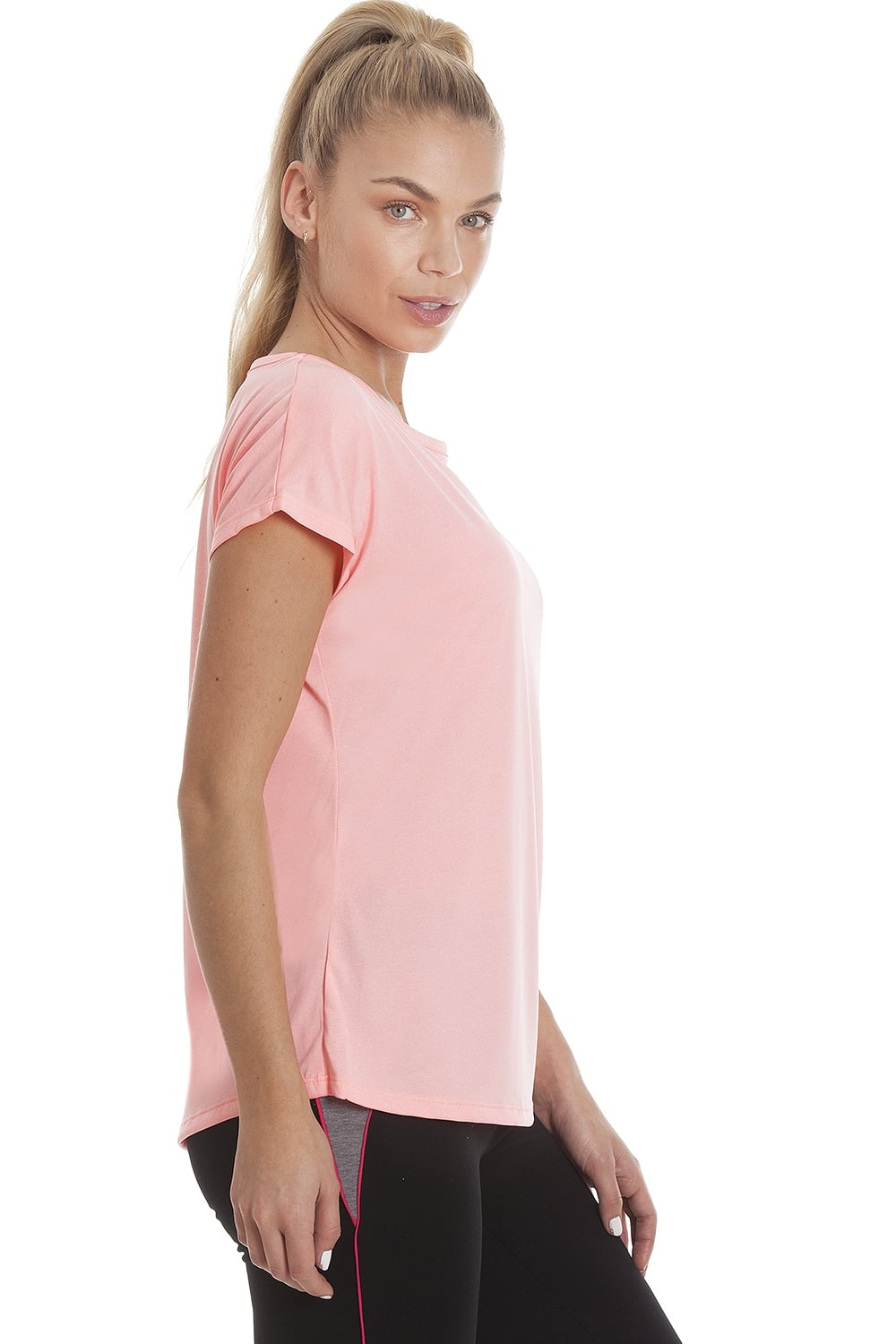 Ex Dunnes Womens Coral Pink Short Sleeve Sports T-Shirt