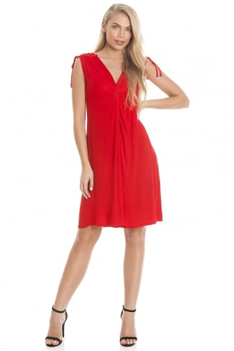 EX High-street Ladies Red Knee Length Beach Dress