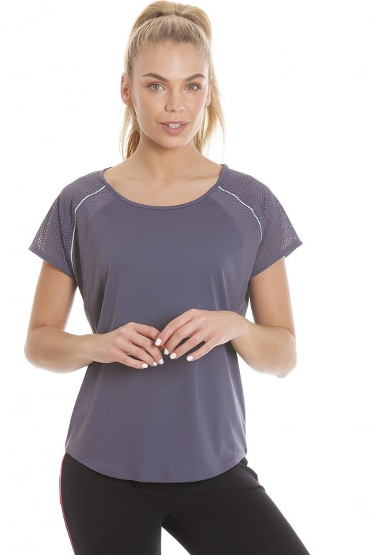 Camille Ex Highstreet Womens Dark Grey Short Sleeve Ventilated Sports Top