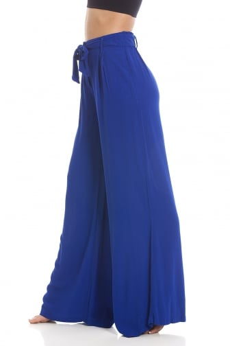 EX Marks and Spencer Blue Full Length Wide Leg Trousers