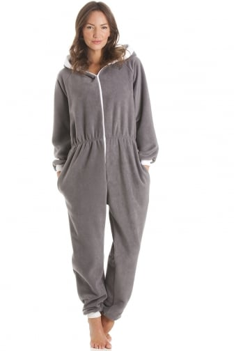 Fleece Hooded All In One Grey Onesie Pyjama