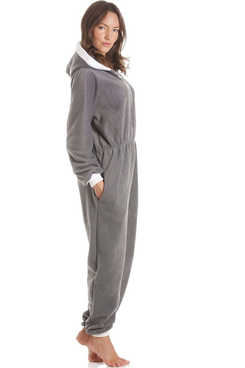 Camille Fleece Hooded All In One Grey Onesie Pyjama d73a986fc