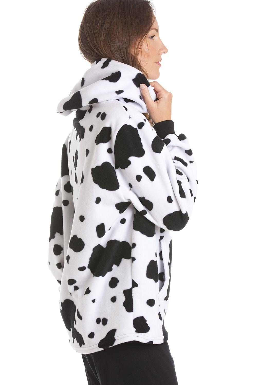 d49bea066390c Camille fleece hooded cow print design pyjama set image jpg 1000x1500 Cow  pattern bra