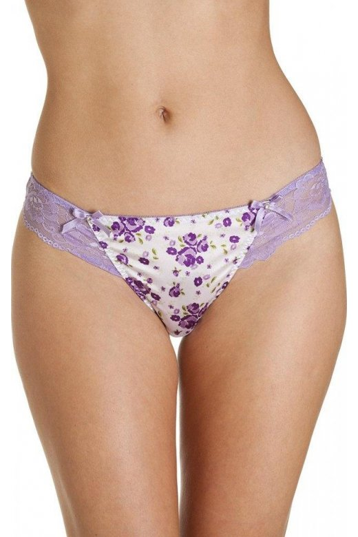 Camille Floral Print Lilac Thong