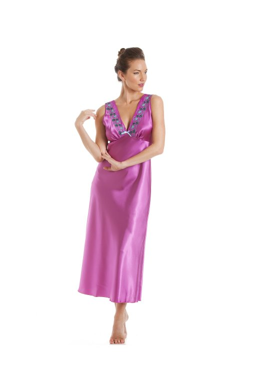 Camille Fuchsia Pink With Aqua Embroidery Satin Chemise