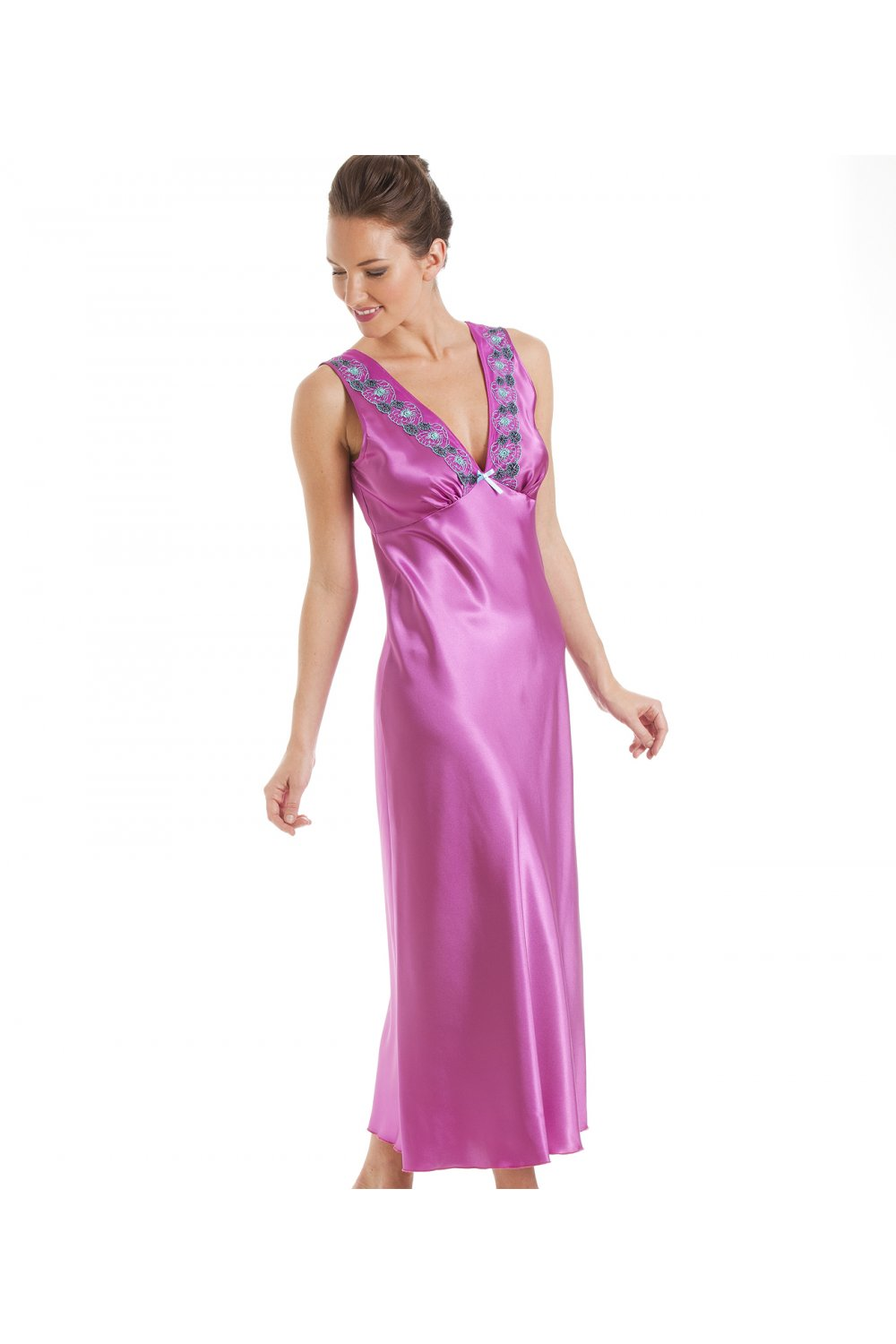 a8047ef40b Camille Fuchsia Pink With Aqua Embroidery Satin Chemise