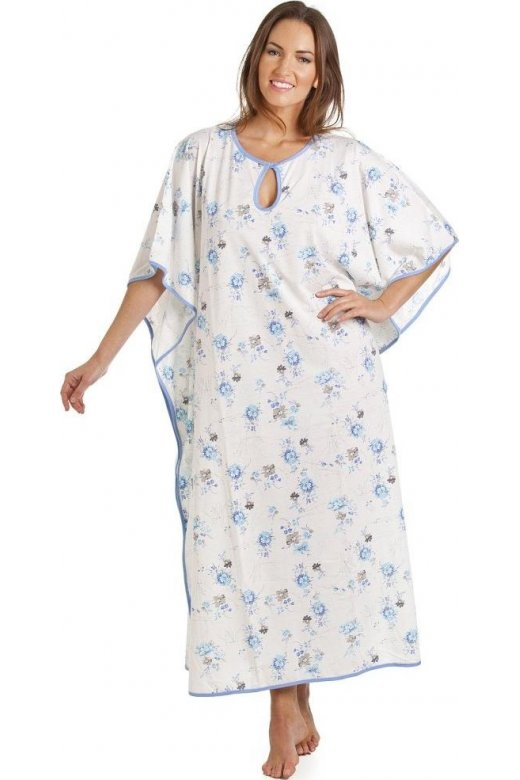 Camille Full Length Blue Floral Print White Kaftan