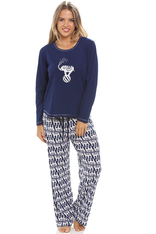 Full length long sleeve elephant motif navy blue pyjama set - Pyjama elephant ...