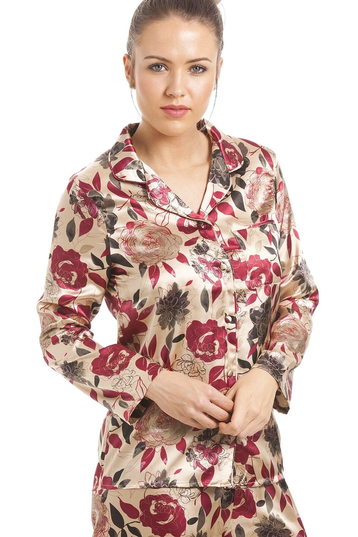 f40379e6c0 Camille Gold Floral Print Satin Pyjamas