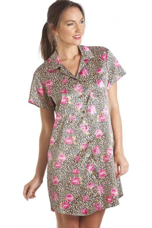 Camille Gold Leopard And Pink Floral Print Knee Length Satin Nightshirt
