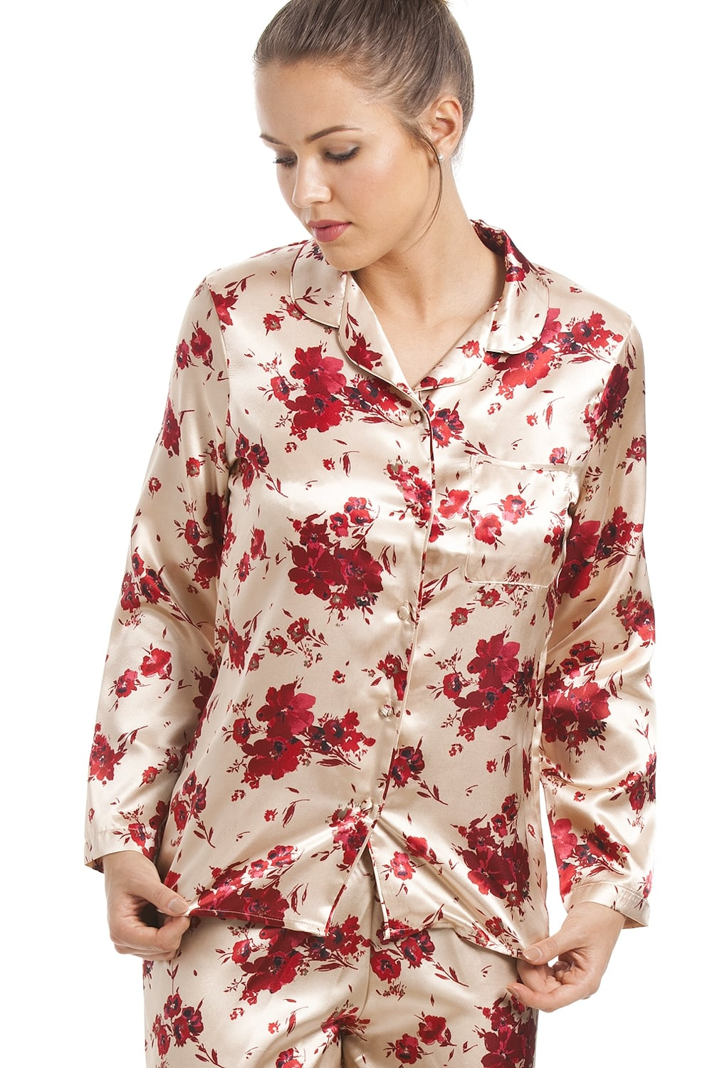 07e6d95145 Camille Gold Satin Pyjama Set With A Red Floral Print