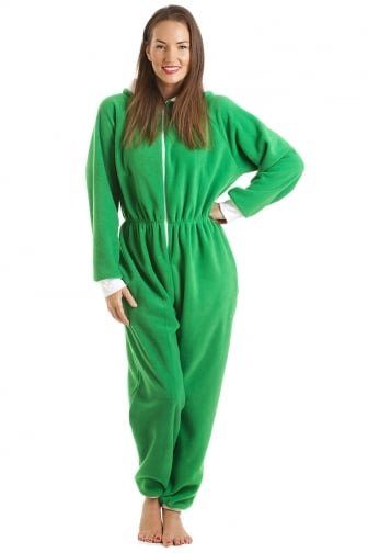 Green Luxury All In One Elf Hooded Pocketed Fleece Onesie