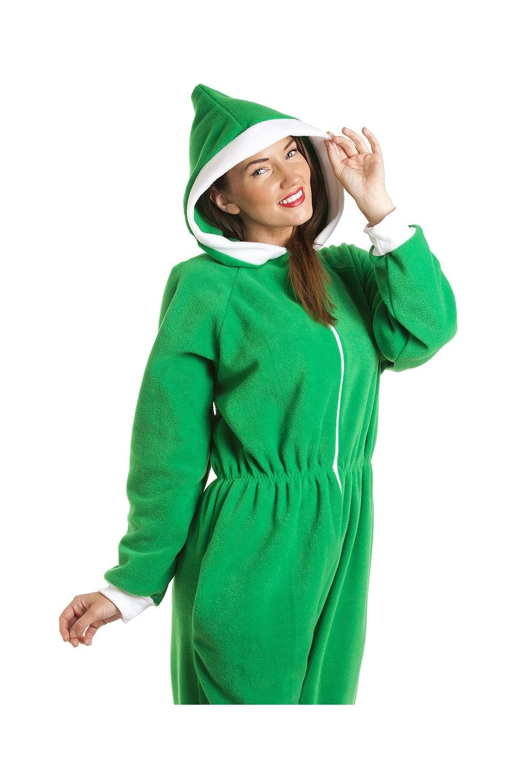 6bee80aa00 Womens Ladies Luxury All In One Green Elf Hooded Fleece Onesie ...