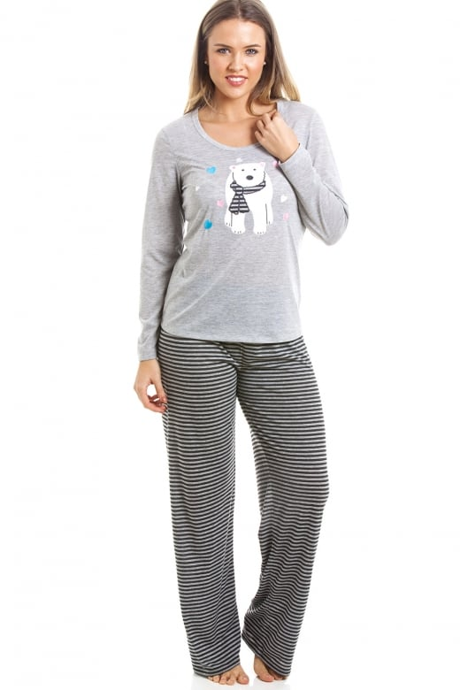 Camille Grey And Black Striped Full Length Polar Bear Motif Pyjama Set
