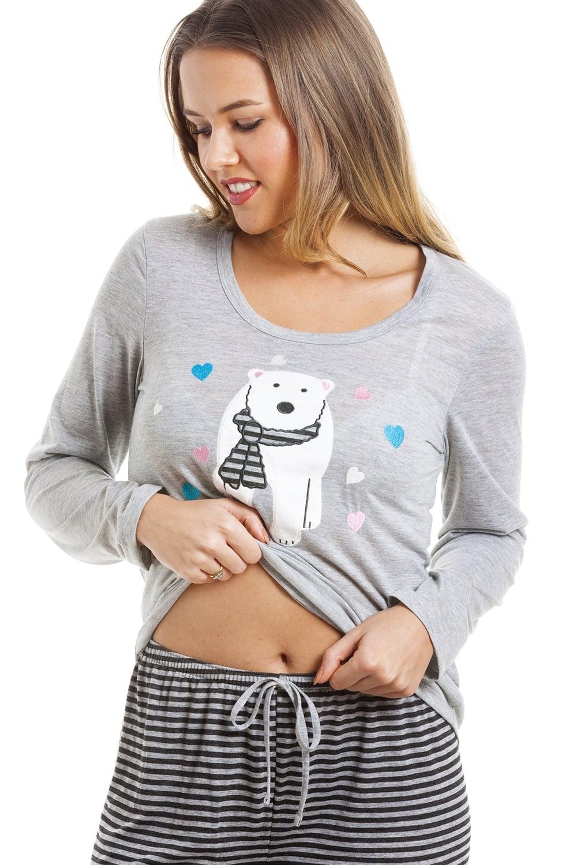 8143cba277 Camille Grey And Black Striped Full Length Polar Bear Motif Pyjama Set