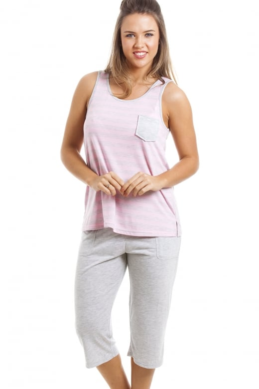Camille Grey And Pink Striped Cropped Pyjama Set