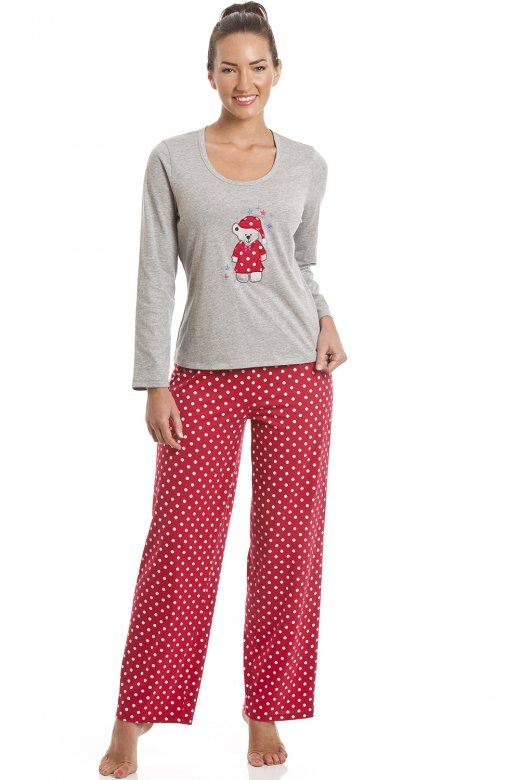Camille Grey And Red Polka Dot Teddy Motif Pyjama Set