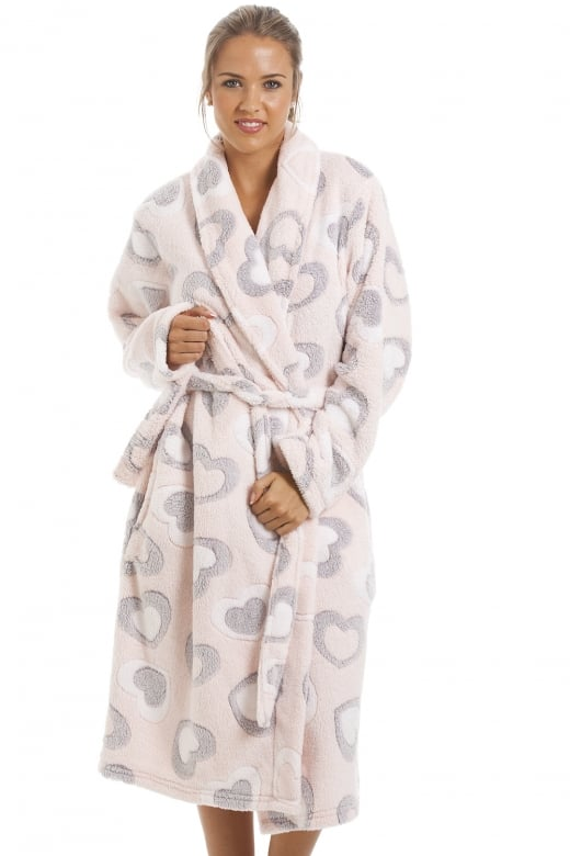 Camille Grey And White Heart Print Supersoft Fleece Light Pink Bathrobe