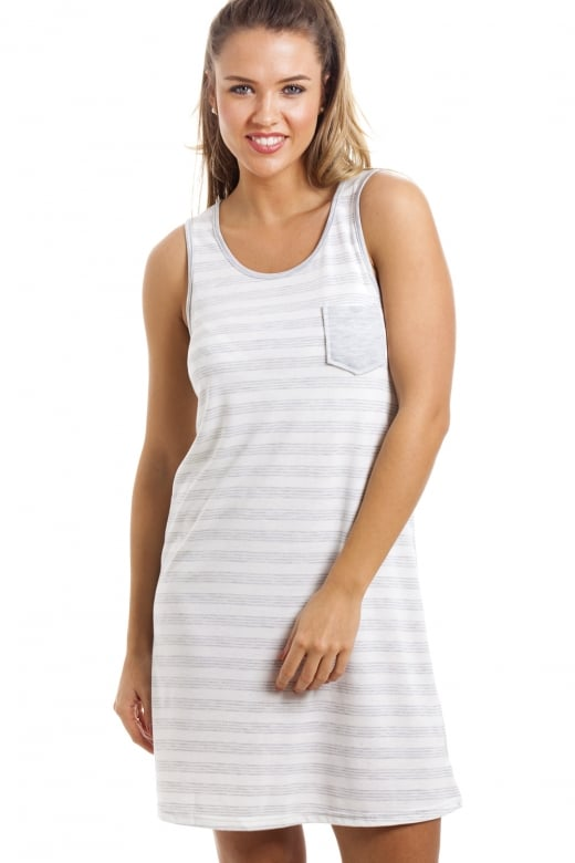 Camille Grey And White Knee Length Striped Sleeveless Nightdress