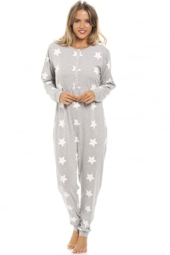 Grey And White Star Print All In One