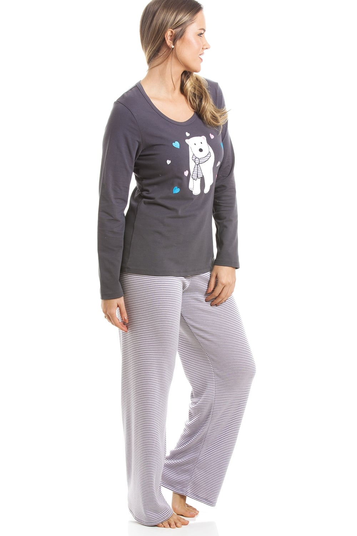 6acb12a63d Camille Grey And White Striped Full Length Polar Bear Motif Pyjama Set