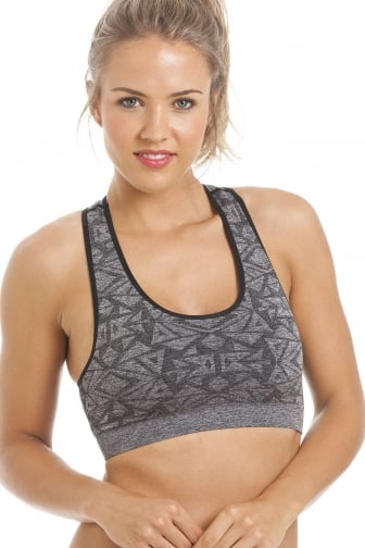 Grey Aztec Non Wired Seam Free Sports Bra