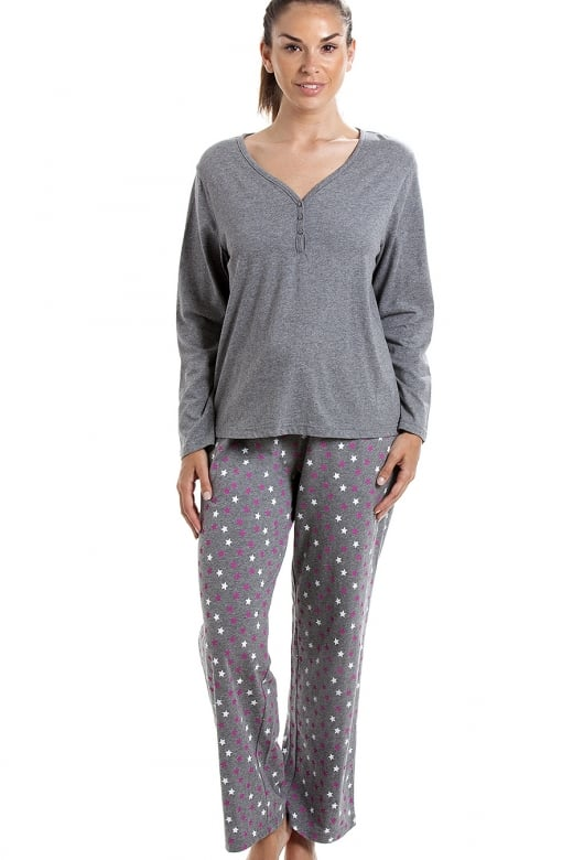 Camille Grey Cotton Star Print Full Length Pyjama Set