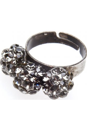 Grey Diamante Three Ball Cluster Ring