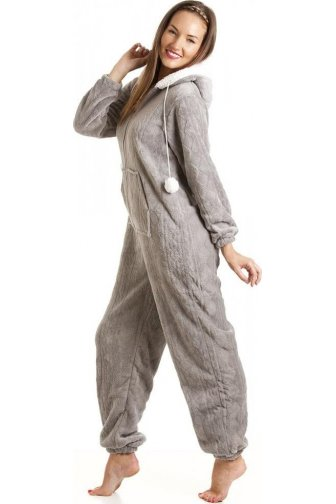 Grey Luxury Super Soft Fleece Hooded All In One Onesie