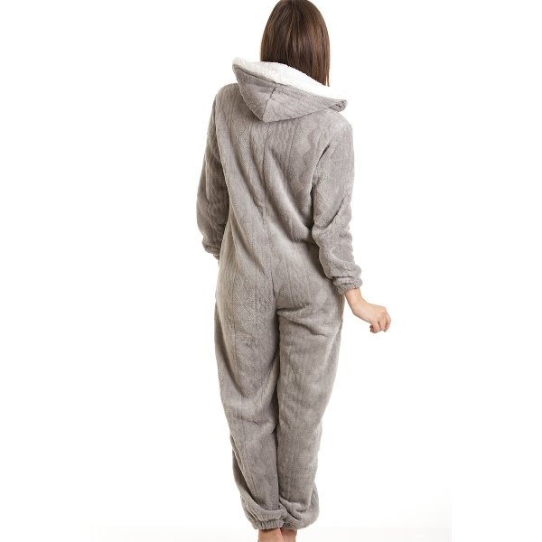 3d9135e36faf Womens Ladies Luxury SuperSoft Fleece Hooded Grey All In One Onesie ...