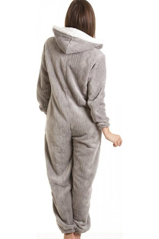 bc26be63e Womens Ladies Luxury SuperSoft Fleece Hooded Grey All In One Onesie ...