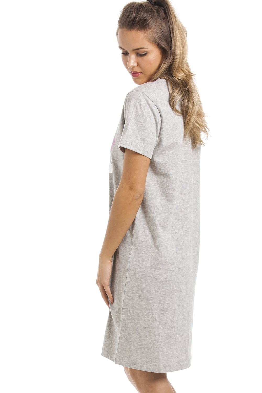 9f844f8d29c6 Camille Grey Short Sleeve Wakey Wakey Motif Cotton Nightdress
