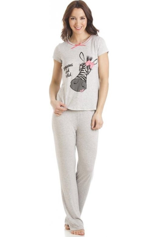 Camille Grey Short Sleeve Zebra Motif Full Length Pyjama