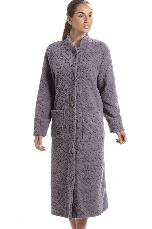 Camille Grey Soft Fleece Floral Full Length Button Up Housecoat