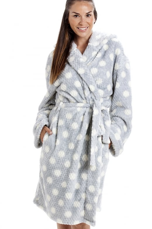 Camille Grey Super Soft Fleece Honey Dot Luxurious Bathrobe