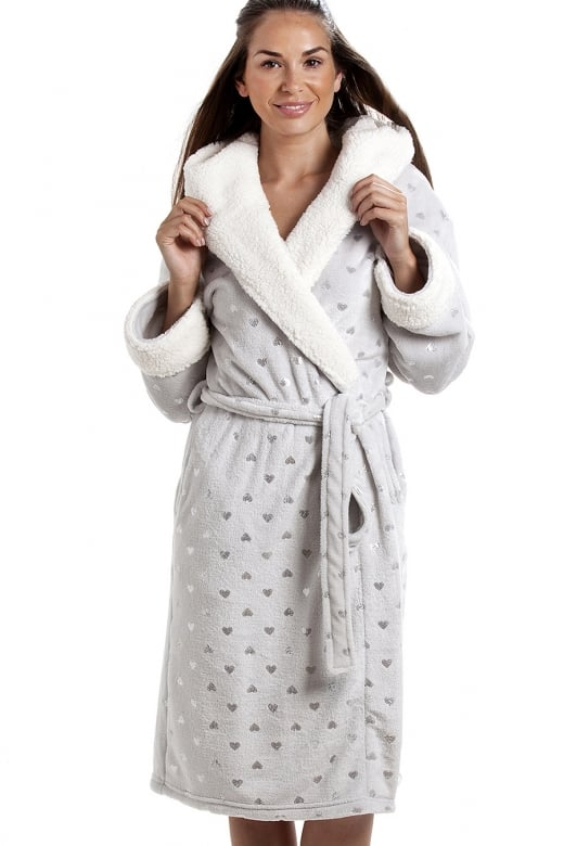 Camille Grey Super Soft Seal Skin Shawl Collar Bathrobe