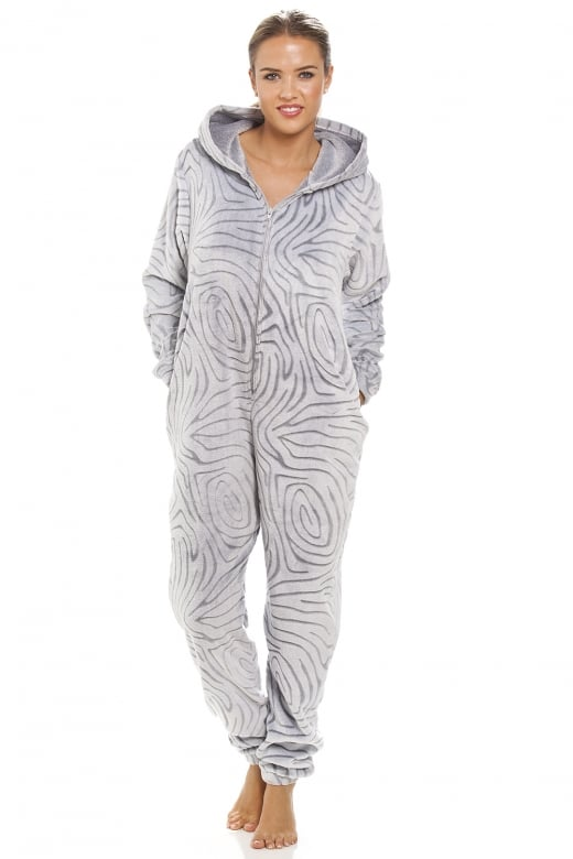 Camille Grey Supersoft Fleece Zebra Print Hooded Onesie