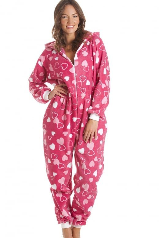 Camille Heart Print Fleece Hooded All In One Fuchsia Pink Onesie Pyjama