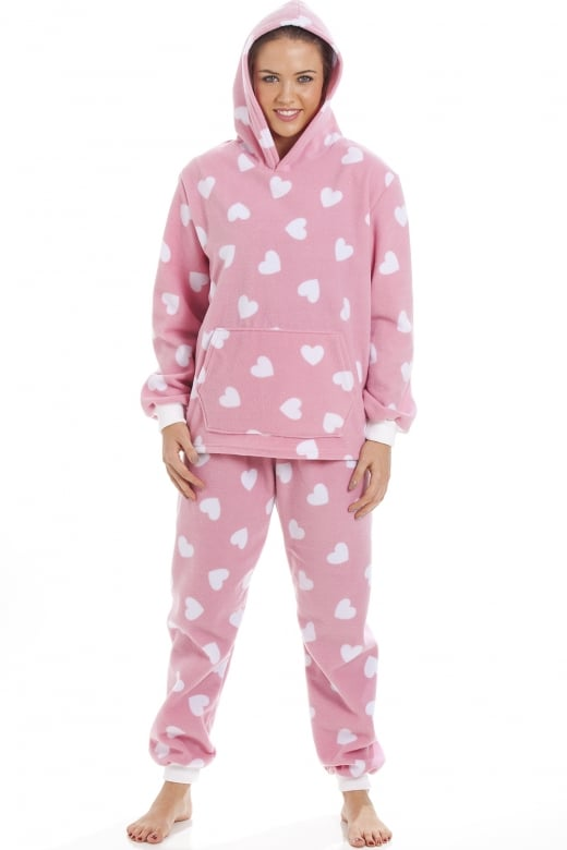 Camille High Quality Hooded Fleece Pink And White Heart Print Full Length Pyjama Set