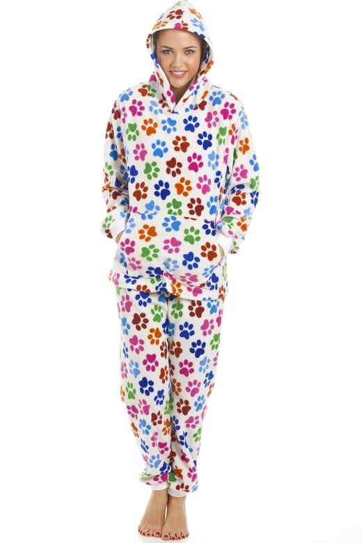 Camille High Quality Hooded Fleece White Multi Colour Paw Print Full Length Pyjama Set
