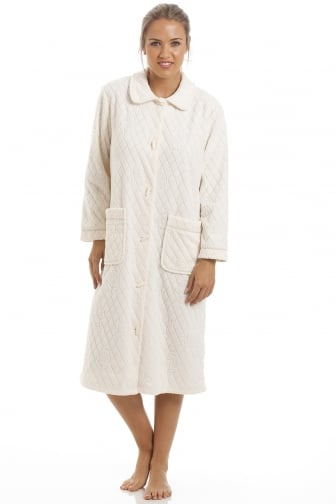 Ivory Floral Print Jacquard Fleece Button Front Housecoat