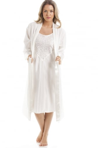 Ivory Medium Length Cotton Wrap With Satin Chemise Set