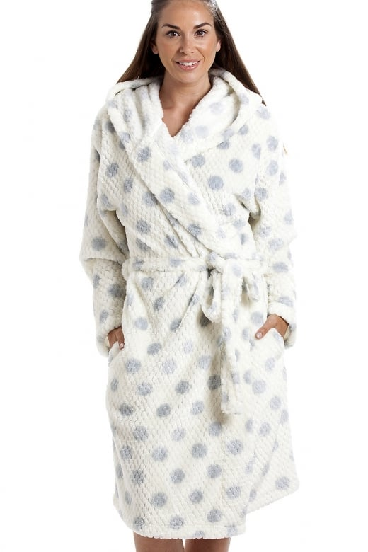 Camille Ivory Super Soft Fleece Honey Dot Luxurious Bathrobe