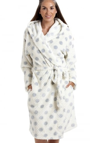 Ivory Super Soft Fleece Honey Dot Luxurious Bathrobe
